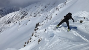 Sean Waters flagging chapter three of his phd to stomp cornices and ski sweet pow